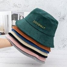 Corduroy Cocount Letter Embroidery Keep Warm Bucket Hat Women Fashion Fisherman Hat Beach Sun Hats Bob Femme Panama Hat