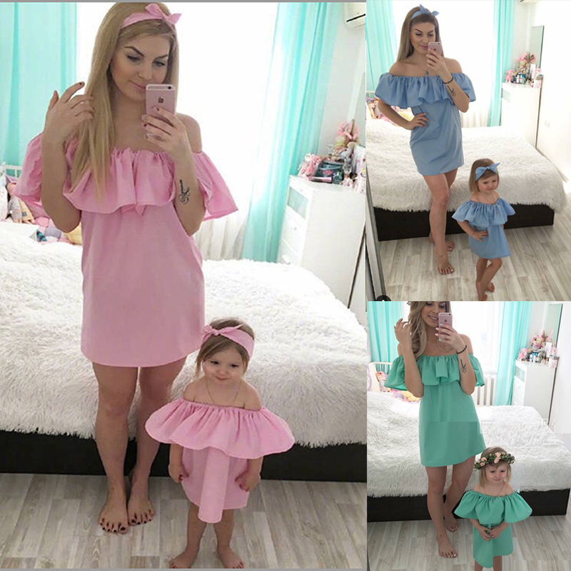 Sexy Mother Daughter Dress Ruffled Off Shoulder Mini Dress Matching Mommy And Me Clothes Summer Fashion Mom Girl Dress Clothing