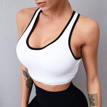 Women Female Dry Quick Push Up Natural Color Sports Bra Tank Tops Yoga Shirt with Padding For Running Fitness Gym Bras image