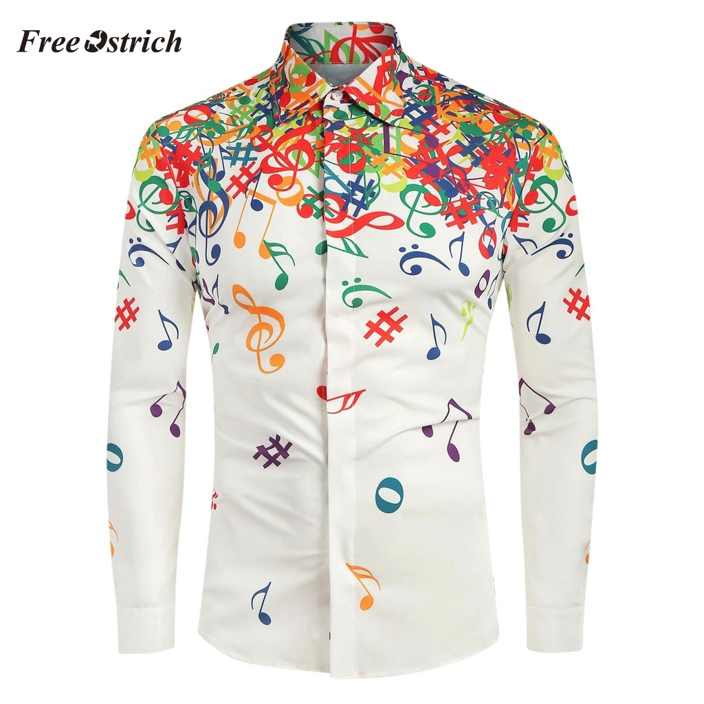 Free Ostrich Men Shirts Long Sleeve 2019-2020 Casual Shirts Slim Fit Musical Note Printed Blouse Lapel Button Shirt Tops Male N2