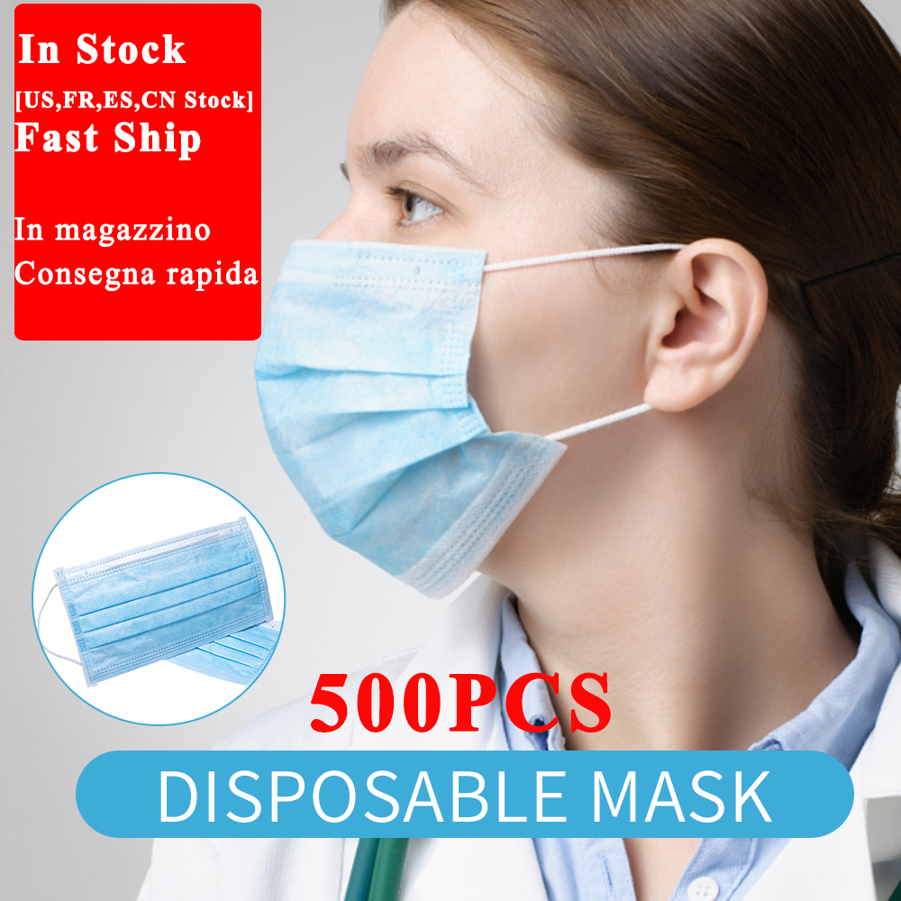 500Pcs Universal Anti-Dust PM2.5 Disposable Earloop Face Mouth Masks Facial Protective Cover Breathable Respirator Dust Mask