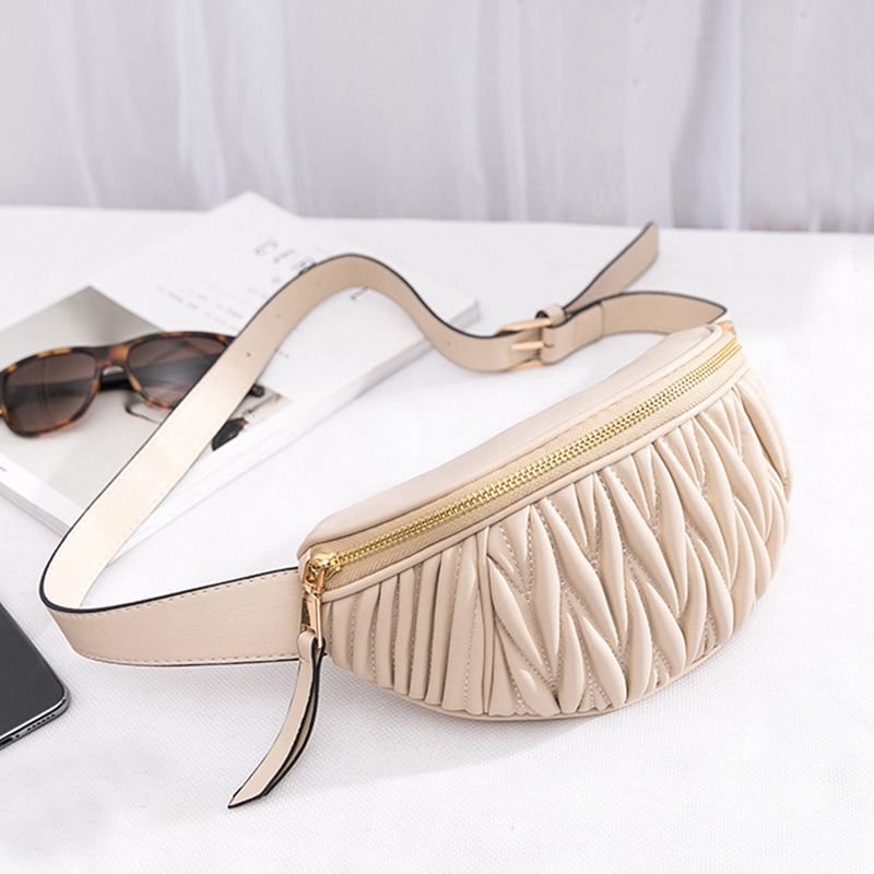 Women Fanny Pack Belt Waist Bag 2019 Fashion Cross Body Women's Small Fragrant Fold Sheepskin Multi-functional Chest Waist Bag