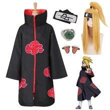 Naruto akatsuki deidara cosplay traje capa peruca acessório conjunto trajes de halloween akatsuki capa adereços