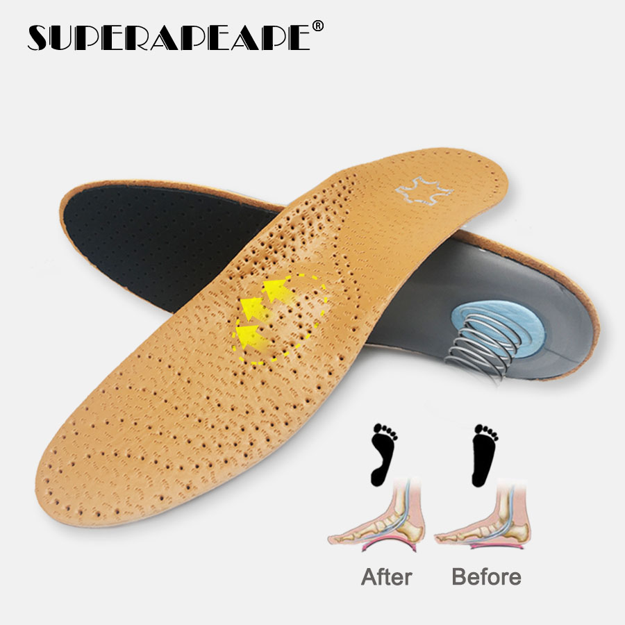 High Quality Leather Orthotics Insole For Flat Foot Arch Support 25mm Orthopedic Silicone Insoles For Men And Women Shoes