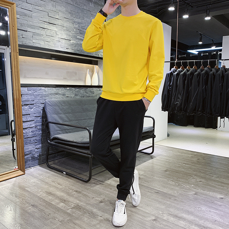New Style Spring And Autumn MEN'S Sport Suit Round Neck Sweater Two-Piece Set Students Set Hoodie Coat Sports Clothing Men's