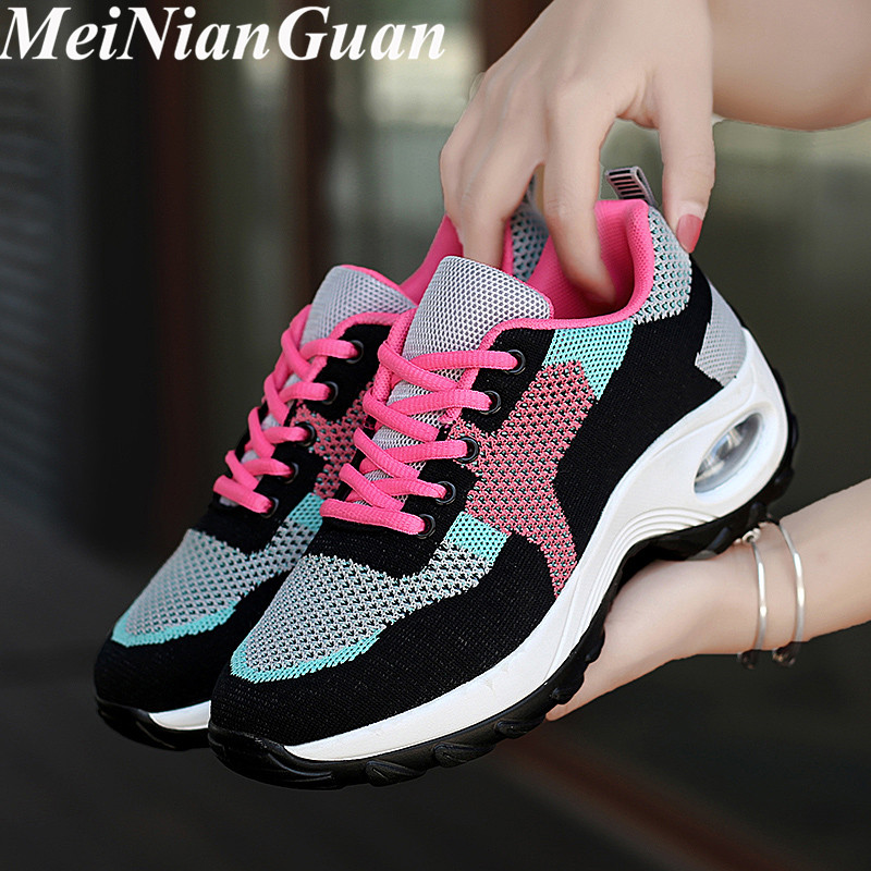 Pink Sport Shoes Woman Air Cushion Sneakers Women's Light Soft Running Shoes Ladies Walking Shoes Round Toe Women Sports Shoe I8