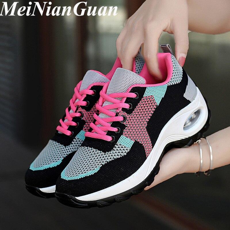 Pink Sport Shoes Woman Air Cushion Sneakers Women's Light Soft Running Shoes Ladies Walking Shoes Round Toe Women Sports Shoe I8