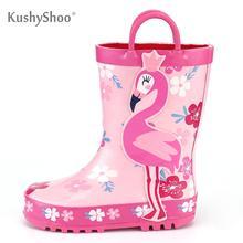 KushyShoo Kalosze dziecięce Outdoor wodoodporny 3D nadruk flaminga Kalosze Kalosze dziecięce Kalosze Dla Dzieci