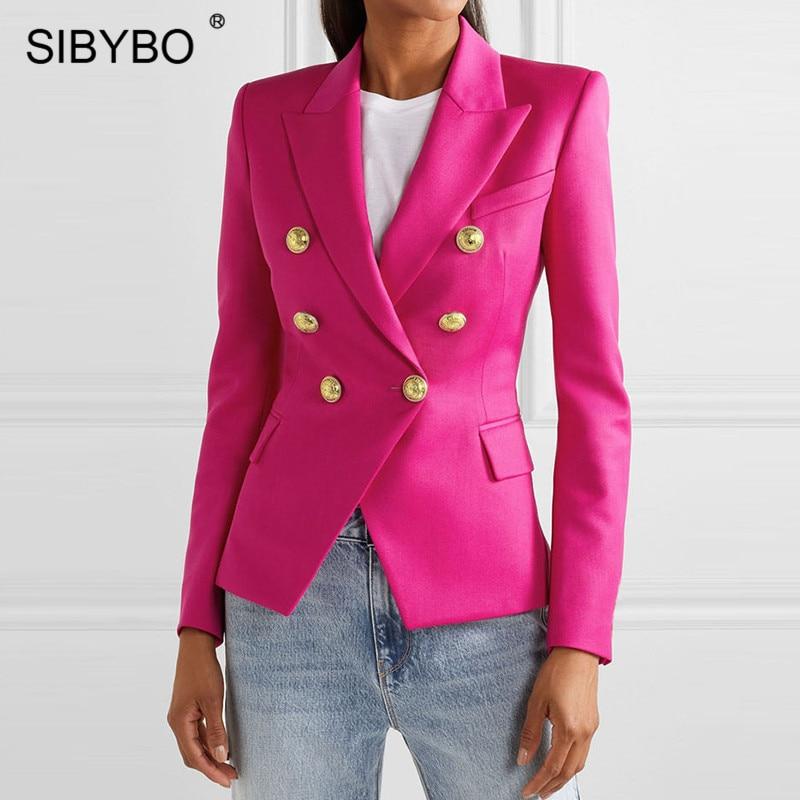 SIBYBO Autumn Winter Plaid Print Casual Blazer Women Long Sleeve Notched Slim Women Coat Buttons Plus Size Women Blazer Tops