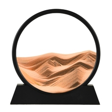 E7CB 12inch 3D Deep Sea Sandscape in Motion Display Flowing Sand Frame Flowing,Relaxing Desktop Home Office Work Decor