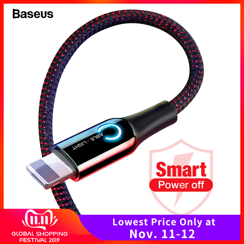 Baseus LED Lighting USB Cable For iPhone XS Max XR X 8 7 6 6S Plus SE Auto Disconnect 2.4A Fast Charging Charger Cable Data Cord-in Mobile Phone Cables from Cellphones & Telecommunications on AliExpress - 11.11_Double 11_Singles' Day
