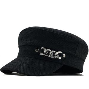 2020 spring new retro chain flat top navy summer Outdoor Casual Caps Octagonal Cap Adjustable for Women