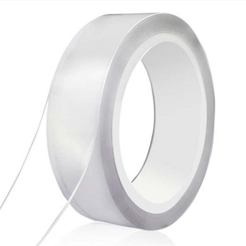 1/2/3/5 metros nano fita dupla face transparente notrace reusável impermeável fita adesiva limpa casa gekkotape
