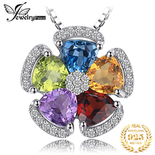 Amethyst Citrine Garnet Peridot Topaz Pendant Necklace 925 Sterling Silver Gemstones Statement Necklace Women Without Chain