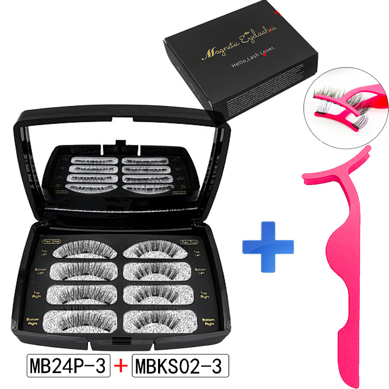 MB 4 Pairs Magnetic Eyelashs Set Natural False Lashs Tweezer Waterproof Long Lasting Mink Eyelash Extension Faux Cils Magnetique