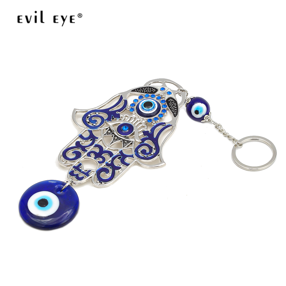 EVIL EYE Hamsa Hand Keychain Silver Color Key Chain Ring Turkish Blue Eye Car Keyring Wall Hanging Jewelry For Women Men EY6535
