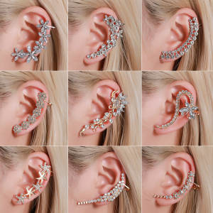 Wrap Earrings Jewelry Cuff Stud Ear-Clip Flower Crystal Rhinestone Punk Gothic Women