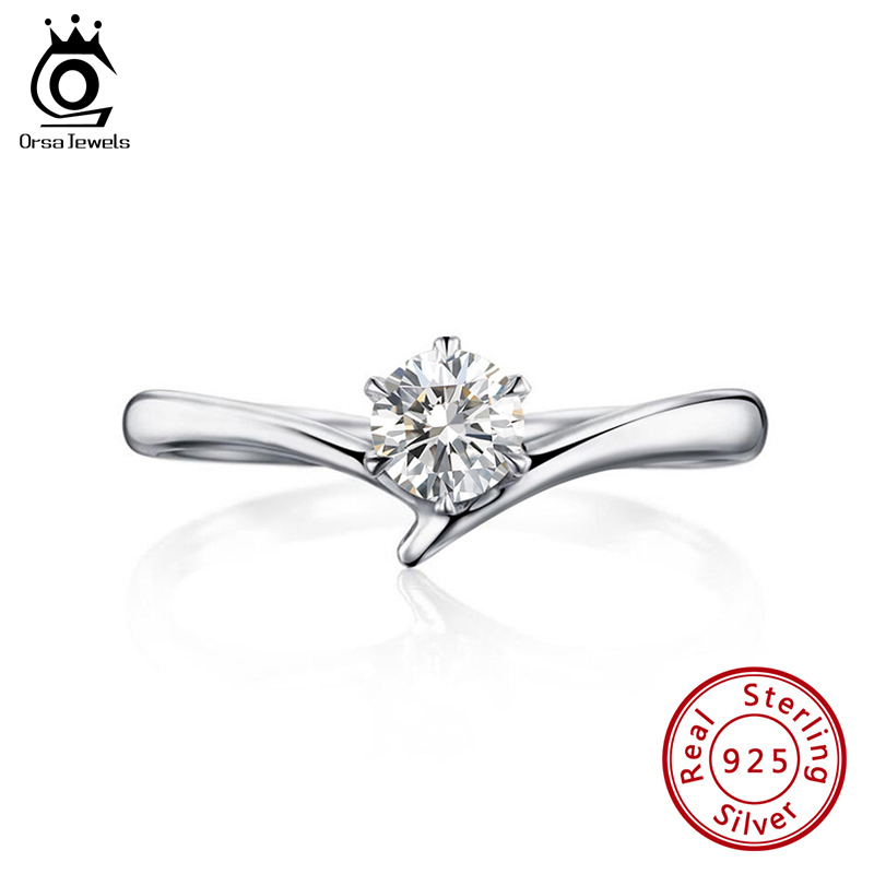 ORSA JEWELS Solitaire Rings Genuine 925 Sterling Silver Women Thinner Rings 5 MM Cubic Zirconia Female Fine Jewelry Gift SR192