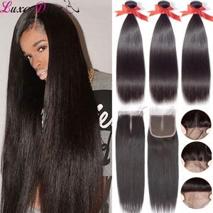 Image 1 - Luxediva naturalne włosy brazylijskie wiązki splecionych prostych włosów z zamknięcie koronki 4x4in Remy ludzkich włosów hurtowych luzem wiele cheveux