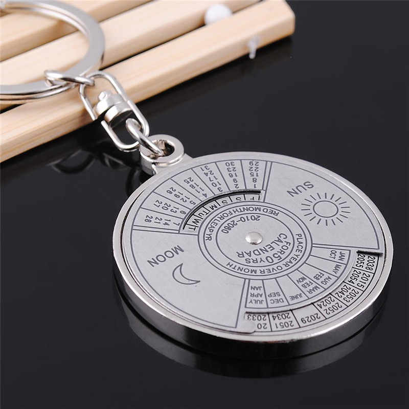 Car Keychain 50 Years Perpetual Calendar Mini Keyring Holder Fashion Vintage Keyfob Unique Jewelry Compass Metal KeyChain Gift