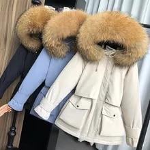 큰 자연 너구리 여우 모피 후드 겨울 코트 여성 90% 화이트 오리 자켓 두꺼운 따뜻한 파카 여성 겉옷