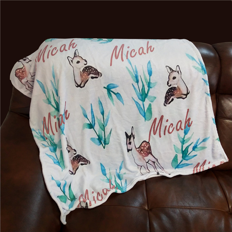 Personalized Baby Blanket Swaddling For Baby Blankets Baby Swaddle Newborn Infant Baby Bedding Crib Cute Deer Blanket Gift