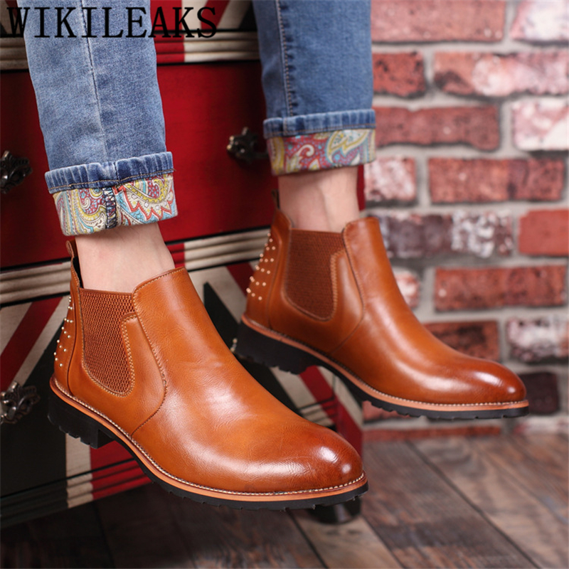 Chelsea Boots Men Elevator Shoes For