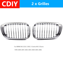For BMW E46 325Ci 330Ci 3-Series M3 2 Doors 1999 2000 2001 2002 2003 2004 2005 2006 Pair Chrome Car Front Kidney Grille Grill drag specialities 2001 0278 chrome fat spotlights pair