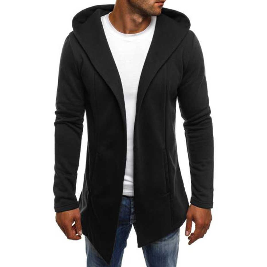 ZOGAA Mens 후드 티 셔츠 남성 솔리드 롱 카디건 후드 Streetwear 남성 캐주얼 가을 슬림 피트 자켓 코트 남성 의류