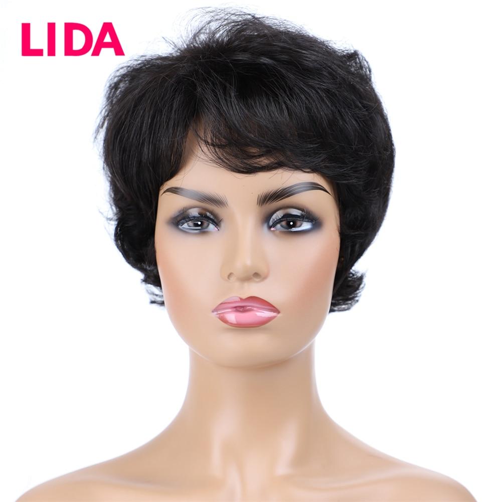 LIDA Short Human Hair Wigs 120% Destiny Natural Wavy Human Hair Wigs 6435 Remy Brazilian Human Hair 6