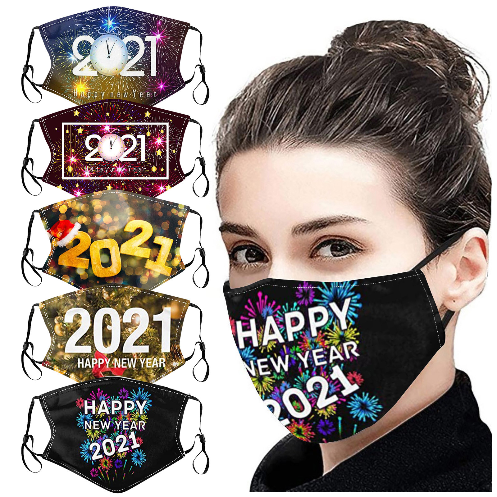 Headband маски mondkapjes 2021 Happy New Years Adult Mask Washable Reusable Pollution Cover Face Mas