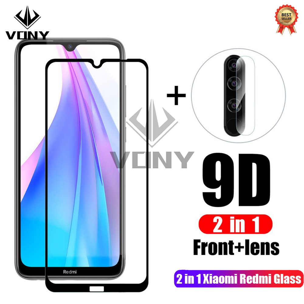 2 In 1 9H Full Cover Tempered Glass For Xiaomi Redmi 7 8 7A 8A Screen Protector Protective Glass For Redmi Note 7 8 Pro 8T Film