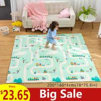 180X200CM tapis de bébé 1CM épaisseur dessin animé XPE enfant tapis de jeu pliable anti-dérapant tapis enfants tapis de jeu