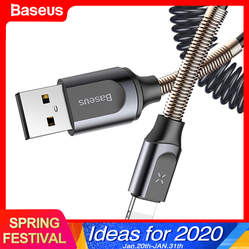 Baseus USB Cable Retractable Spring Cable For iPhone X XS Max XR 8 7 6 Plus Fast Charging Charger Cable Wire Data Cord Adapter-in Mobile Phone Cables from Cellphones & Telecommunications on AliExpress