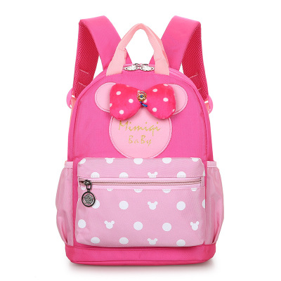 Disney Mickey Mouse  Cartoon Kindergarten Backpack Boy Girl Cartoon Cute Minnie Backpack Kid School Bag