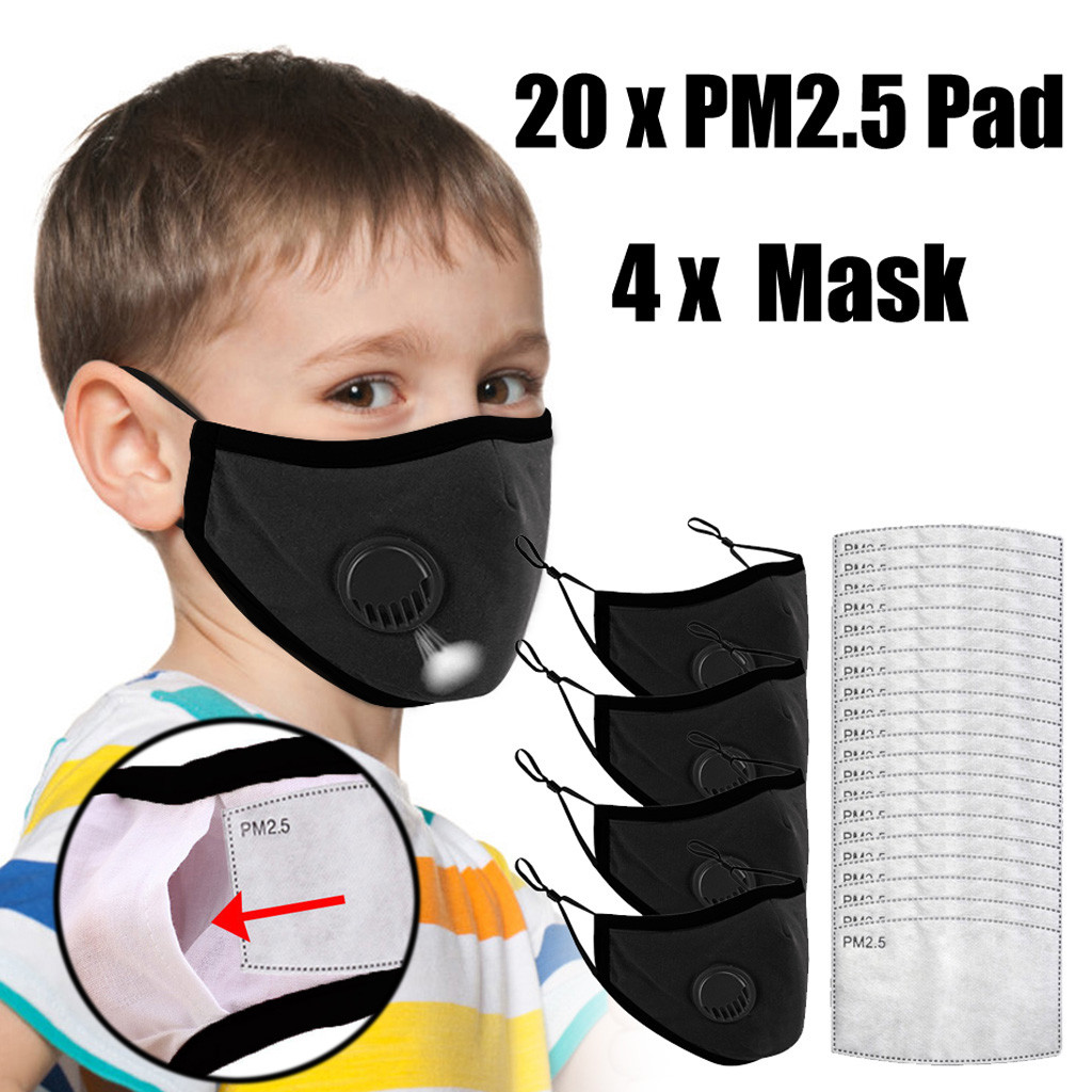 Fashion Reusable Children Mask For Kids Breath Valves Cotton Mouth Face Mask Kids Unisex PM2.5 Filters Washable Mouth Face Mask