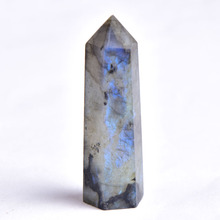 1PC Natural Labradorite Hexagonal Column Stone Crystal Point Reiki Mineral Ornament Healing Wand Home Decor DIY