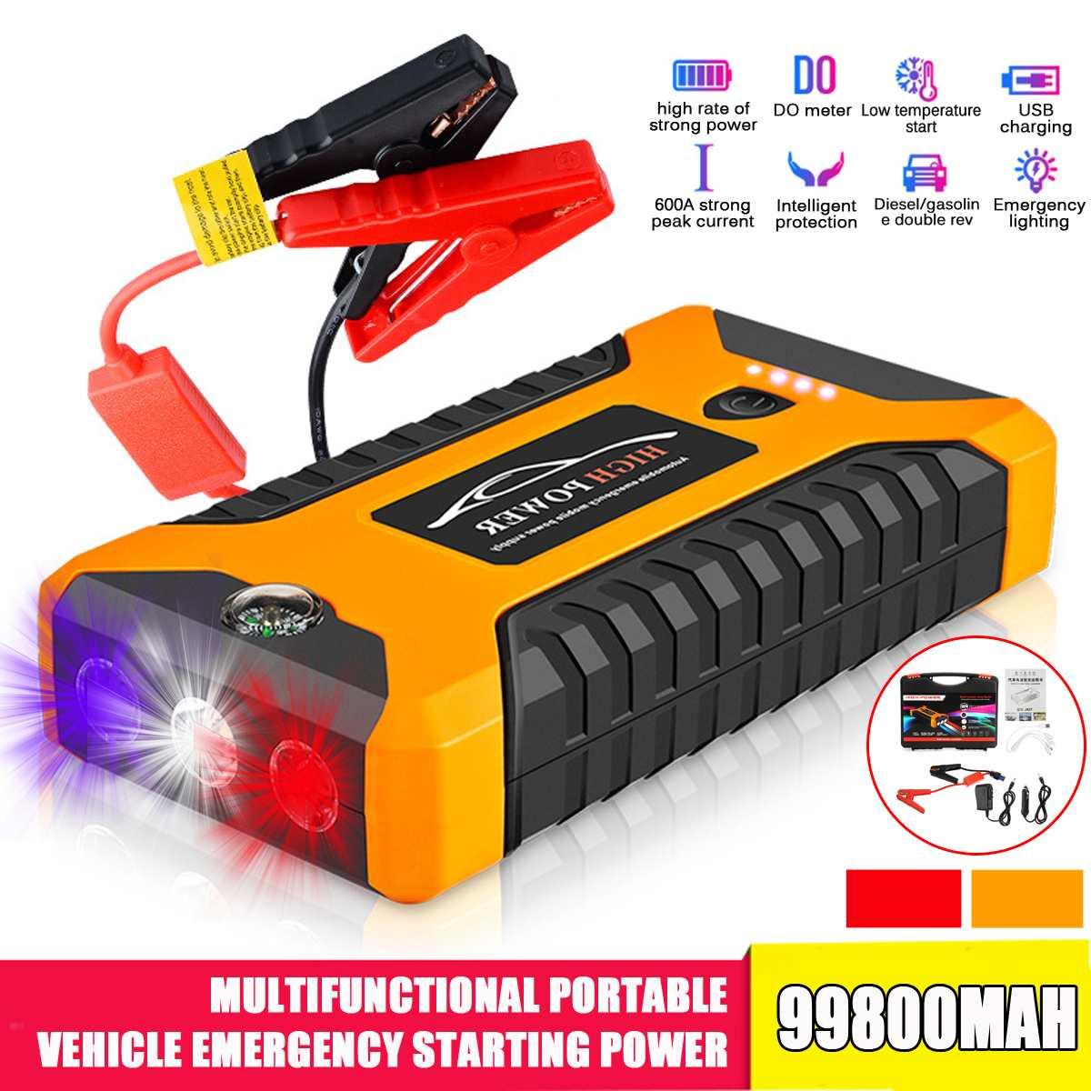 99800mAh 4USB 12V портативный автомобильный стартер для скачка многофункциональная автомобильная батарея Booster Зарядное устройство Booster аварийное ...