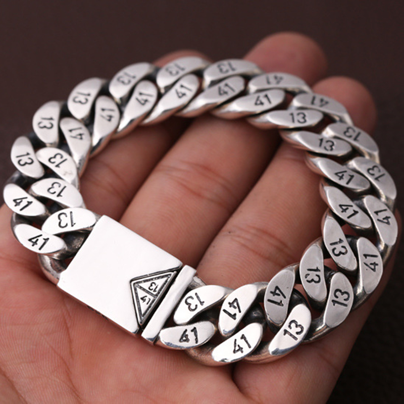 Мужской браслет из чистого 925 пробы серебра, Ширина 16 мм, треугольная розетка с замком, полированная цепочка, мужской Байкерский серебряный браслет 1314