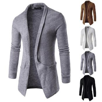 Casual Men Solid Color Sweater Cardigan Turn Down Collar Pocket Long Jacket Coat wool coat Autumn Men's Cardigan