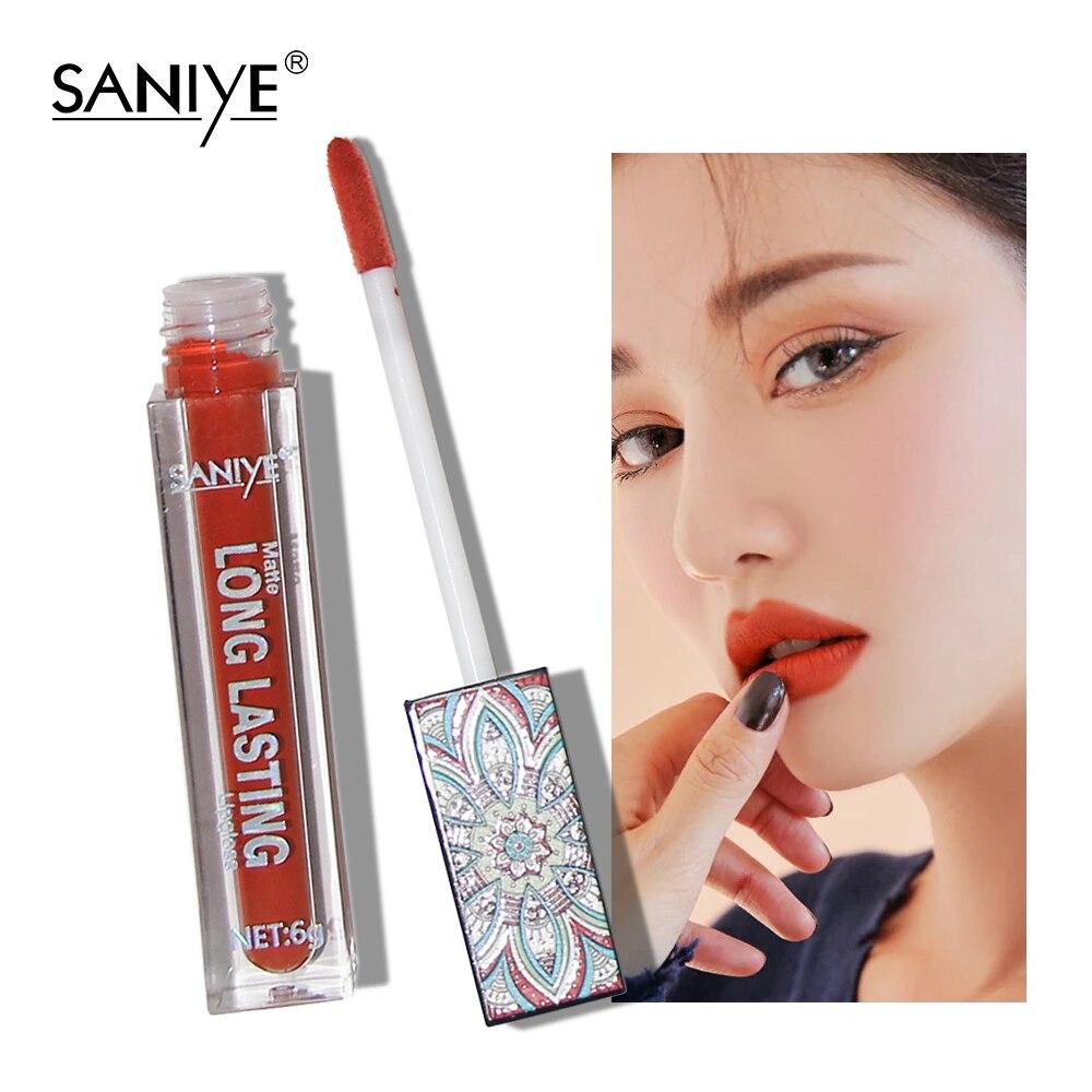 SANIYE Lip Makeup Matte Lipstick Nude Pumpkin Color Liquid Lipstick Lip Gloss Matte Batom Matte Maquiagem L1127