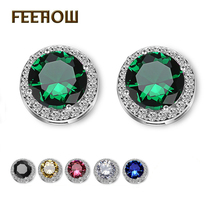 купить FEEROW 6 Color Fashion Jewelry White/18K Gold Plate Round Shape Micro Inlay Crystal AAA+ CZ Diamond Women Stud Earrings FWEP003 по цене 68.39 рублей