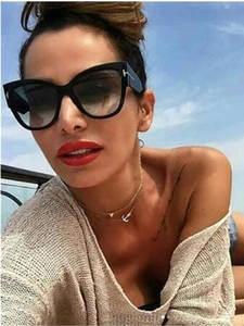 CURTAIN Oculos Vintage Brand Cat-Eye-Sunglasses T-Frame Oversized Women Big Gradient