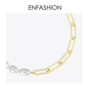 Image 5 - ENFASHION Natural Pearl Link Chain Bracelet Female Gold Color Stainless Steel Femme Bracelets For Women Fashion Jewelry B192069