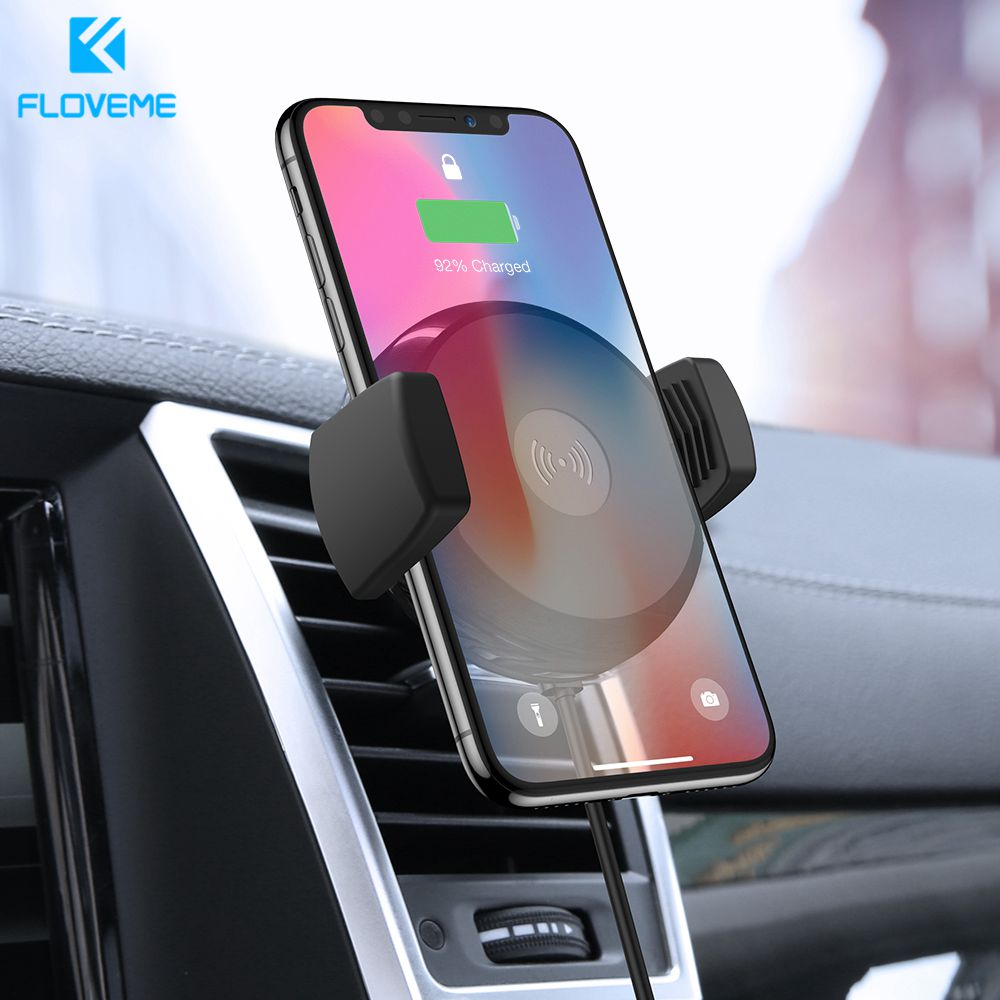 FLOVEME Qi Car Wireless Charger For IPhone 11 Pro XS Max Samsung S10 Intelligent Infrared Fast Wirless Charging Car Phone Holder