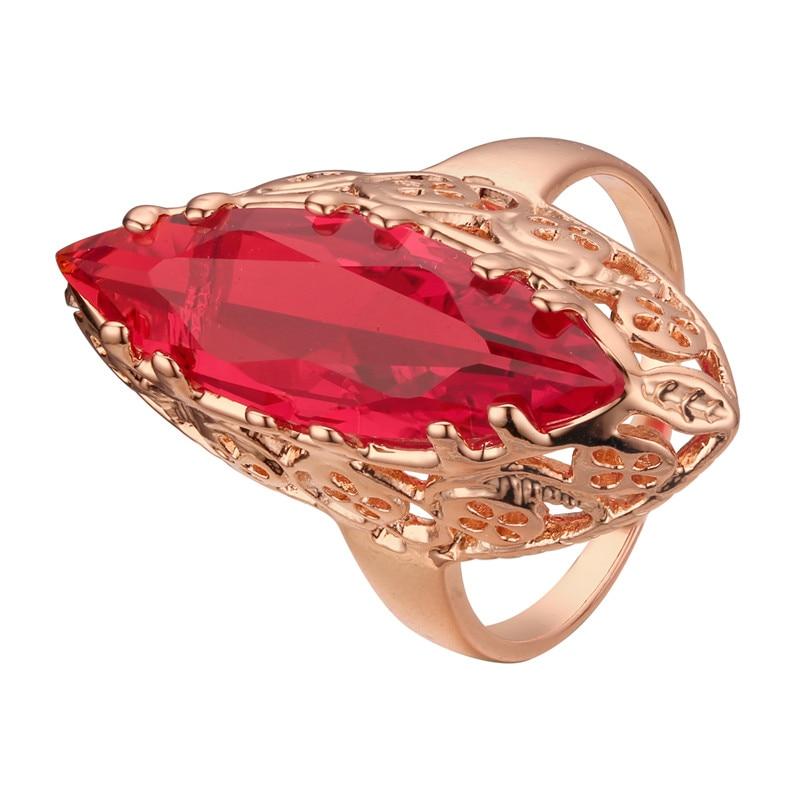 Женское кольцо из розового золота 2020 пробы с фианитом и овальным красным камнем|Обручальные кольца| | АлиЭкспресс