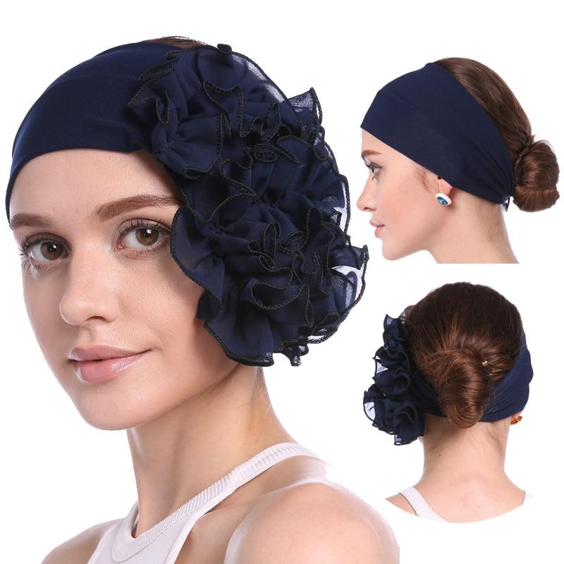 Summer Muslim Turban For Women Soft Elastic Flowers Inner Hijabs Solid Chiffon Turbante Mujer Ready To Wear Hijab Head Scarf
