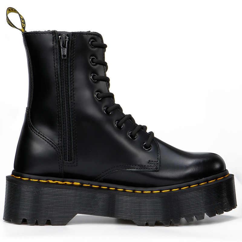CEVABULE botas de cuero genuino zapatos de mujer botas negras para mujer botas botines de motocicleta zapatos de tacón grueso plataforma botas mujer