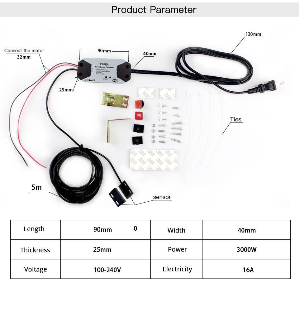 H32190e54471344a0975e8b67460bf1fcE Wofea WiFi Switch Smart Garage Door Opener Controller Work With Alexa Echo Google Home SmartLife/Tuya APP Control No Hub Require
