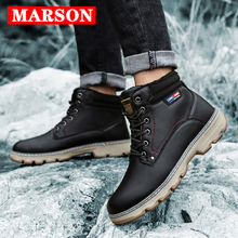 MARSON Men's Winter Snow Boots Keep Warm Waterproof Footwear With Fur Lace-Up Plush Men Shoes Flats Ankle Boots Male Plus Size snow boot for women flats with warm faux fur women snow boots plush female winter warm shoes snow boots flats with confortable